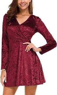 Women's Elegant Long Sleeve V-Neck Velvet Flared A Line Party Mini Dress