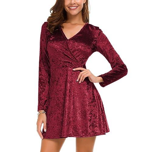 bc1cfcd15 DGMYG Women's Elegant Long Sleeve V-Neck Velvet Flared A line Party Mini  Dress
