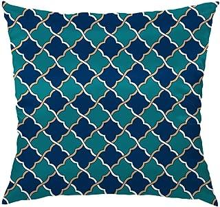 Moslion Moroccan Pillow Decorative Throw Pillow Cover Case Blue Peach Moroccan Satin Square Cushion Cover Silk Pillow Cases for Men Women Girls Boys Kids Sofa Bedroom Livingroom 18