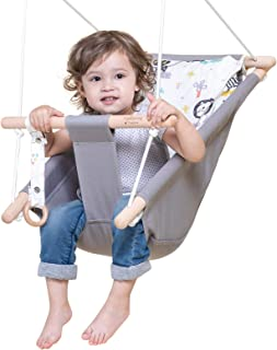 Baby Swing for Infants and Toddler, Canvas Baby Hammock Swing Indoor and Outdoor with Safety Belt and Mounting Hardware, W...
