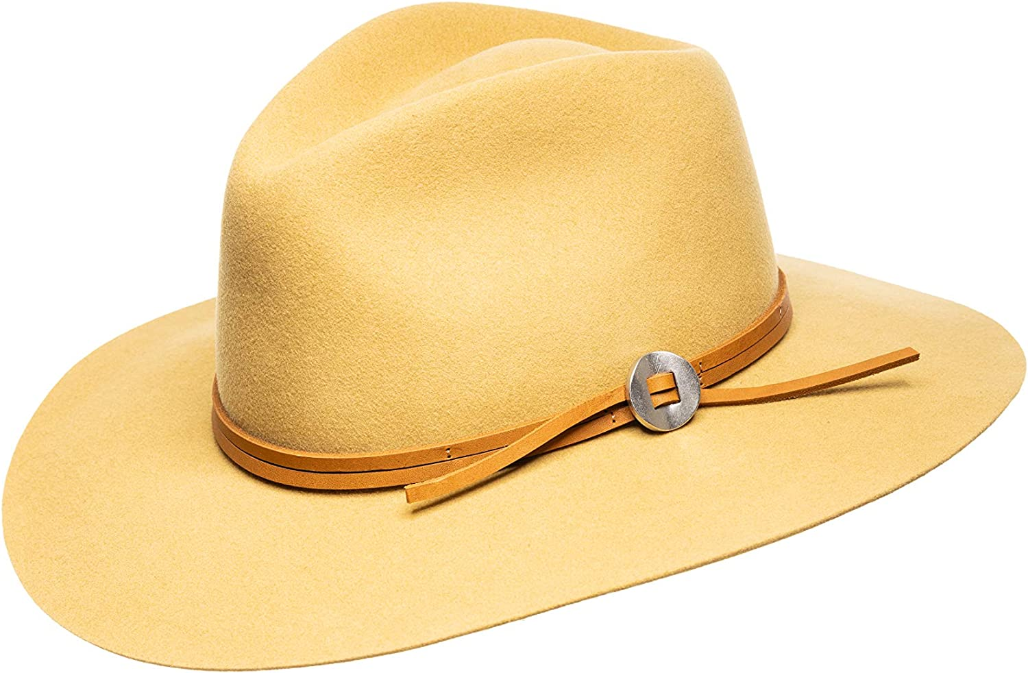 Jamie Slye The Phoebe Wool Felt Fedora with Wide Brim and Leather Hat Band