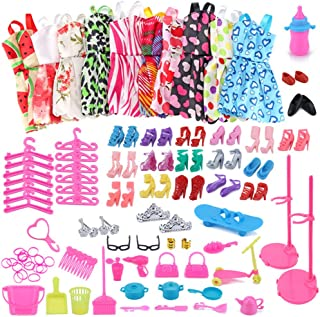 Daily life /& Study Accessories Crown Trunk Hangers Necklace Swimsuit Shoes Bags Casual Outfit Dresses Barwa Fashion Closet with 68 Accessories for Barbie 11.5 Inch Girl Doll Including Fashionistas Wardrobe