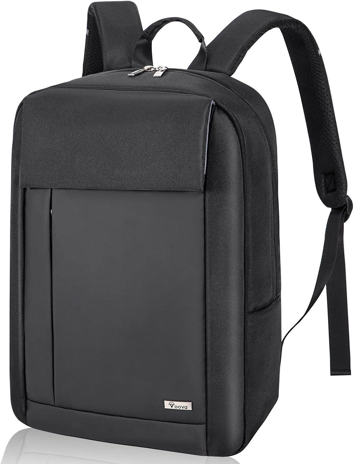 Voova Travel Laptop Backpack for Men Women, Business Work Commuter Tech Back Pack with Laptop Compartment, Slim Waterproof College School Bookbag Computer Bag Fits 14 15 15.6 Inch Laptop, Black