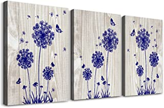 blue dandelion 3 Piece abstract Canvas Wall Art for living room Wall Decor for bedroom kitchen decorations Wood grain posters Canvas Prints artwork Modern framed bathroom Home decoration 12