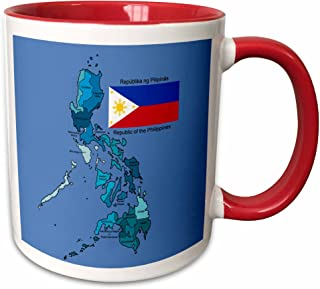 3dRose (mug_114186_5) Flag and map of the Republic of the Philippines with all regions colored and labeled - Two Tone Red Mug, 11oz
