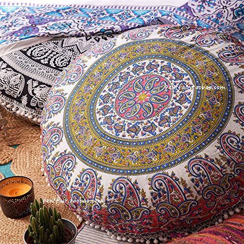 Runde Boden Pouf Abdeckung,Großes Bodenkissen Cover Kissen Meditationsmatte Indische Yogamatte Bohemian Indian Poufs-C Durchmesser:87cm