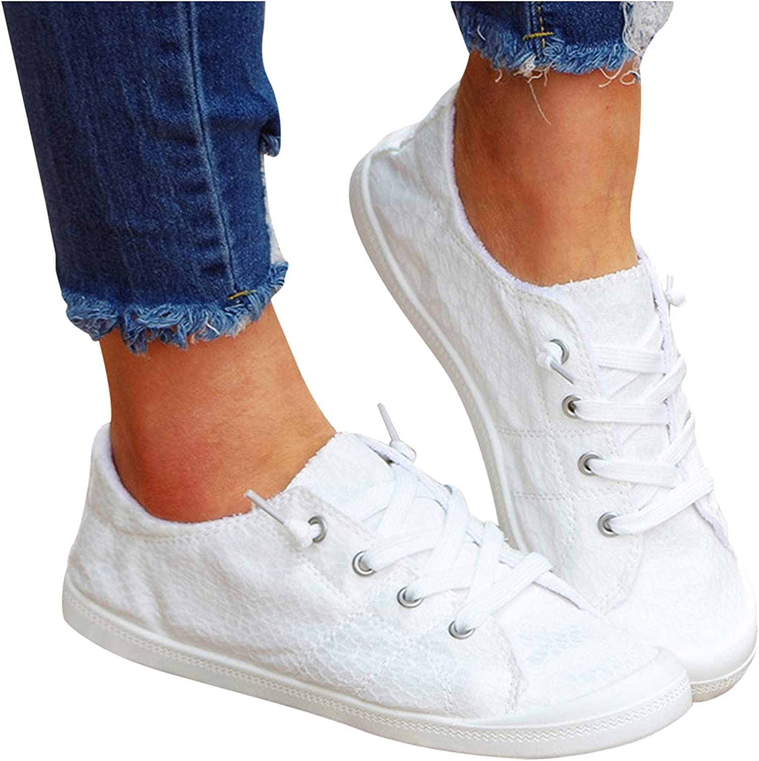 siilsaa Sneakers for Women, Womens Solid Lace Up Flat Running Sh