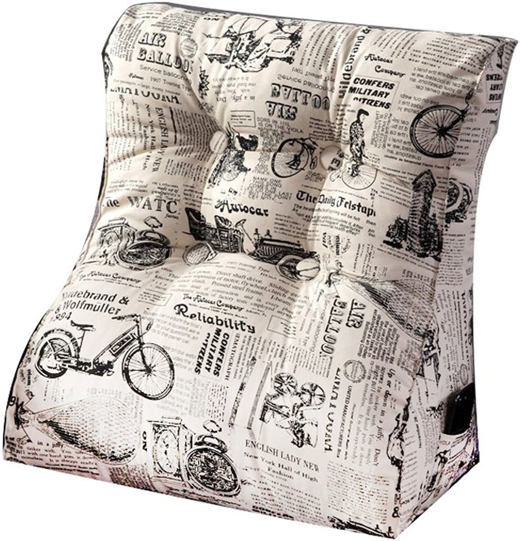 Coussin de sofa de toile de coton de coussin de dos de grand lit rehaussant la taille épaisse démontable et lavable (taille   60  55cm)