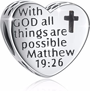 "925 Sterling Silver"" with God All Things are Possible"" Heart Charms Fit European Snake Chain Bracelets"