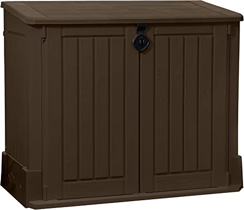 Keter Store-It-Out Woodland 4.25 x 2.4 Foot Resin Outdoor Storage Shed with Easy Lift Hinges, Perfect for Trash Cans,...