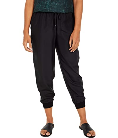Eileen Fisher Petite Ankle Slouch Pants with Knit Cuff (Black) Women