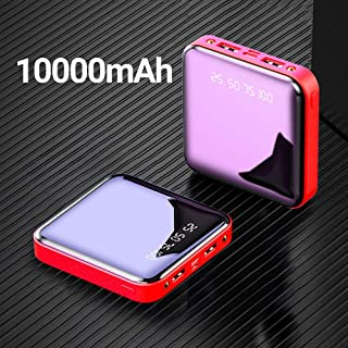 High quality power bank power bank Mini power bank 20000mah is suitable for Xiaomi 10000 mah portable charger LED mirror back, iphone external battery pack (Color : 10000mAh Red)