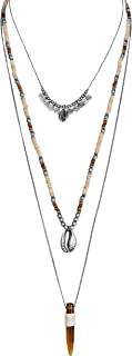 Boho Tribal 3 Piece Layered Amber Horn & Shell Necklace for Women Collection