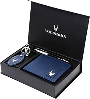 WildHorn® RFID Protected Genuine High Quality Leather Wallet,Keychain & Pen Combo for Men