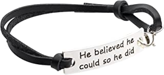 Inspirational Jewelry Bracelet –He Believed He Could So He Did Quote – Silver Charm Wrap – Engraved Sayings for Inspiration, Motivation for Women, Men, Teens, Girls.