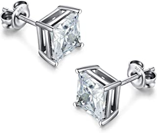 925 Sterling Silver Square Cubic Zirconia Stud Earrings Hypoallergenic, Clear Square Princess Cut AAA Fake Diamond Stud Ea...