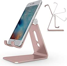 Adjustable Cell Phone Stand, OMOTON Aluminum Desktop Cellphone Stand with Anti-Slip Base and Convenient Charging Port, Fits All Smart Phones, Rose Gold