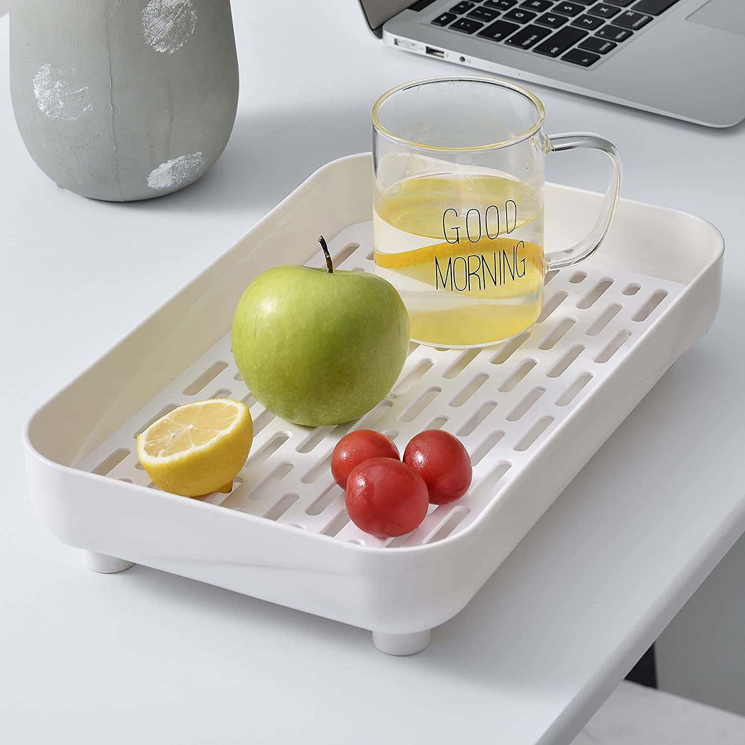 Umelife Plastic Serving Trays for Eating with Drain Board,Integrated Food Tray and Dish Drainer in One Serving Platter,Raised Bottom and Rim,Non-Slip Feet-White,1 Piece,13