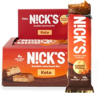N!CK'S Keto Snack Bar, Karamell Choklad, 4g Net Carbs, 14g Protein, No Added Sugar, 5g Collagen, Low Carb Protein Bar, Low...