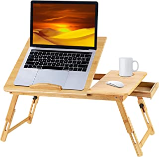 Bamboo Laptop Desk for Bed, Adjustable Foldable Bed Desk Table Tray with USB Cooling Fan with Storage Drawer, Foldable Bre...
