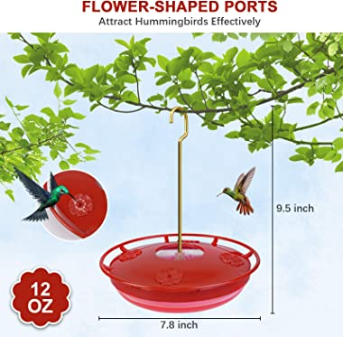 Hummingbird Feeders for Outdoors, 12 oz Hummingbird Feeder with 4 Red Feeding Ports, Hanging Bird Feeders for Outside Garden