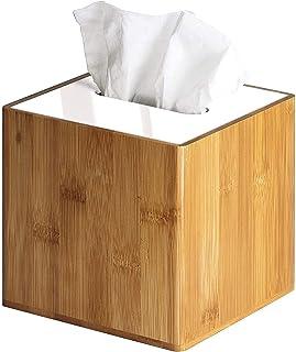 JackCubeDesign Bamboo Square Tissue Box White Acrylic Cover Holder Case Storage Case Stand Box Napkin Holder Organizer(5.8...