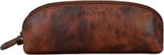 """STILORD """"Yuma II"""" Kosmetiktasche Klein Leder Kosmetiktäschchen Schminktasche Damen ideal auch als Stiftemappe Federmappe Federmäppchen Lederetui, Farbe:antik - Used"""