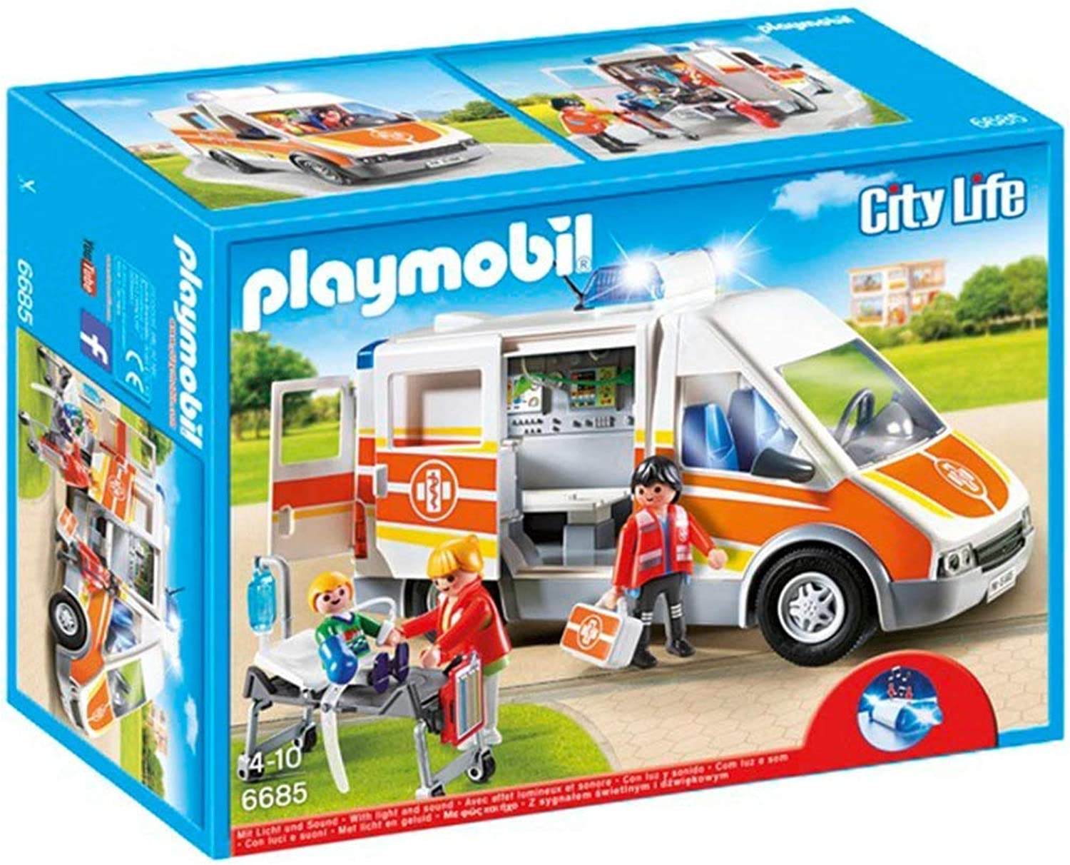 Playmobil – City Live Ambulance with Lights and Sound, MultiColour (6685)