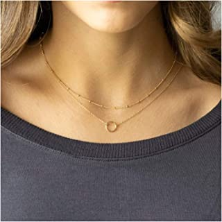 4ca61e80379 Mevecco Layered Heart Necklace Pendant Handmade 18k Gold Plated Dainty Gold  Choker Arrow Bar Layering Long