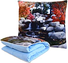 BlueHills Decorative Soft Cozy Couch Pillow Blanket Throw Quilt for Home Airplane Car Travel Movies Kids Beach Camping Blanket 63x43 inches Pillow 16X16 inches in one Home Décor-Water Fall-A004