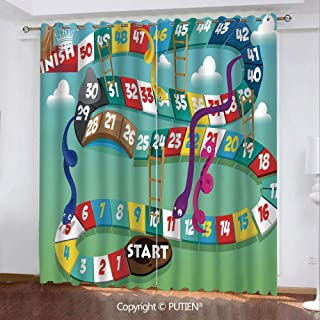 Satin Grommet Window Curtains Drapes [ Board Game,Swirled Snakes and Ladders Start and Finishing Line Clouds Crown Winner Childish Decorative,Multicolor ] Window Curtain for Living Room Bedroom Dorm R