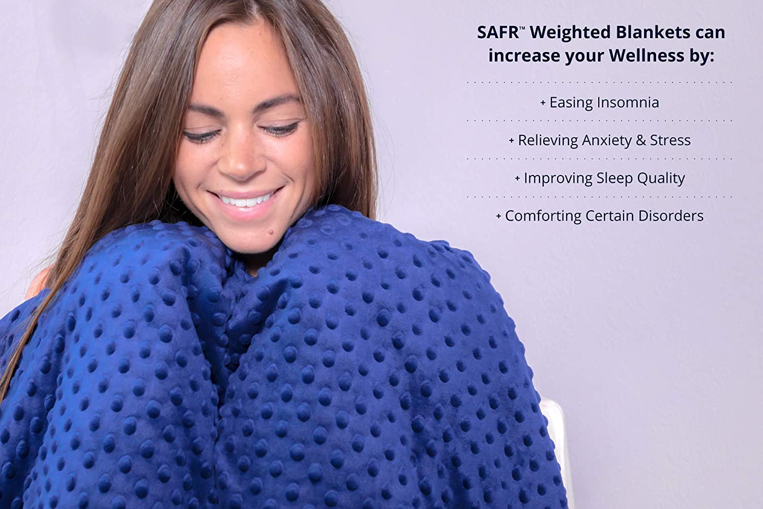60x80 | 15lbs, Grey SAFR Home Therapy Weighted Blanket /& Removable Cover
