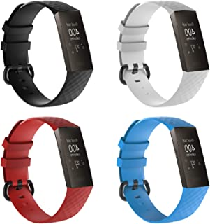 XIHAMA For Fitbit Charge3 バンド 交換ベルト シリコン製 スポーツベルト 2サイズ 軽量 防水 (Large, 4PCS)