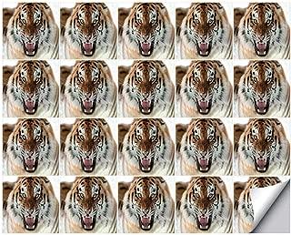 YOLIYANA Safari Decor Stylish Ceramic Tile Stickers 20 Pieces,The Siberian Tiger Roar Teeth Golden Eyes Stripes Whiskers Attack Predator White Background for Home Restaurant,7.8
