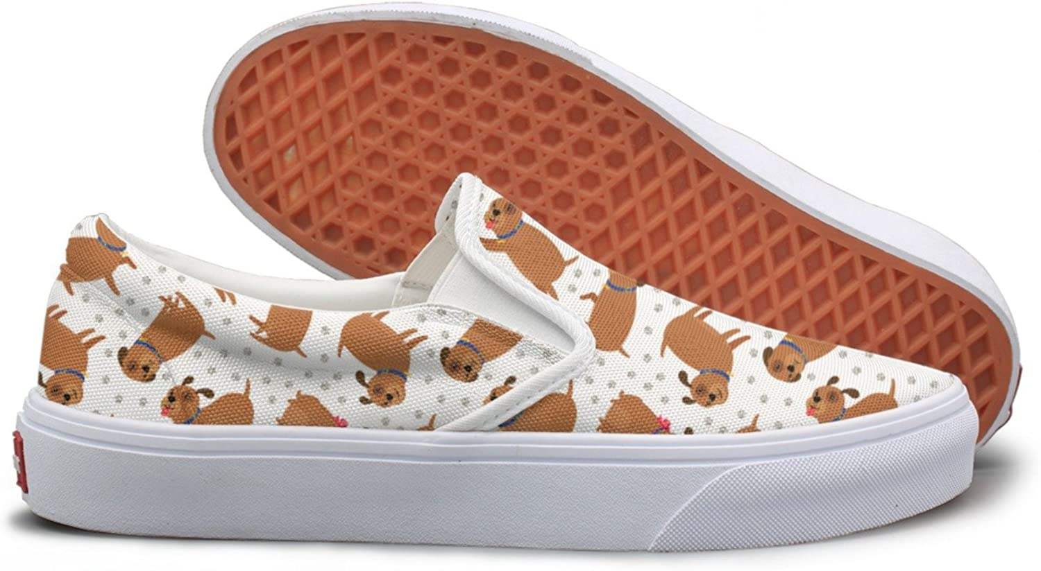 Tongue Out Dogs Puppy Paws Footprints Walking Sneakers For Women