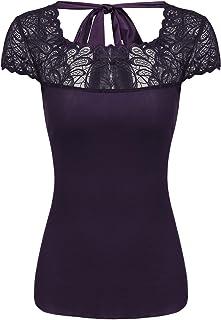 Pinspark Women Cap Sleeve Mesh Lace Patchwork Backless Slim Fit T Shirt Top