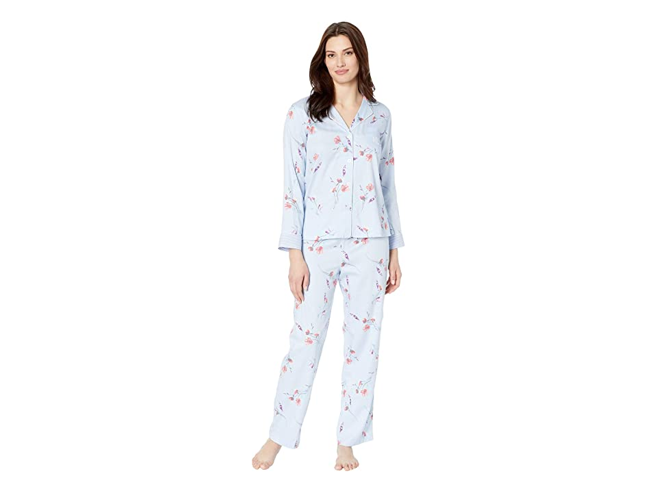 LAUREN Ralph Lauren Pointed Notch Collar Pajama Set (Blue Floral Print) Women