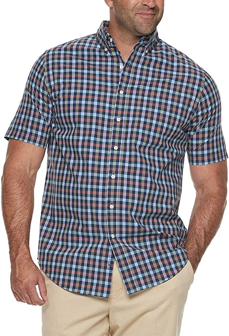 Mens Classic Fit Short Sleeve Button-Down Shirt Sizes Big Tall Gingham