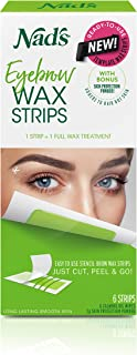 Nad's Eyebrow Wax Strips - Facial Hair Removal for Women - Eyebrow Wax Kit with 6 Eyebrow Waxing Strips + 6 Calming Oil Wipes + 2g Skin Protection Powder