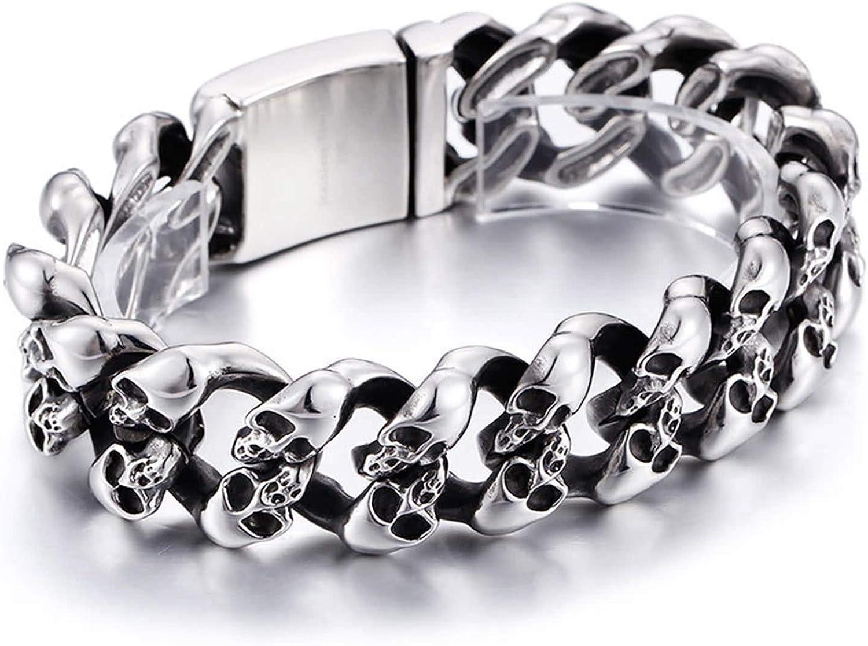 Daesar Bracelets Max 71% OFF Stainless Free Shipping New Steel Men Brac Chain Skulls Silver of