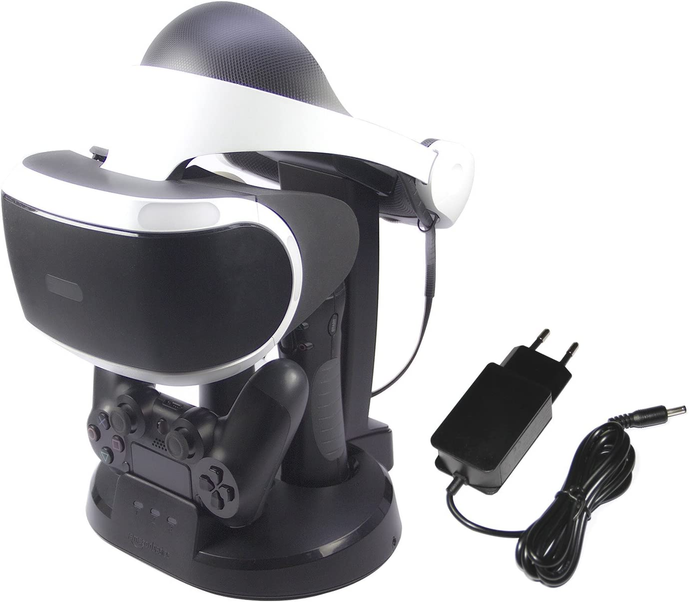 Amazon Basics - Estación de carga y expositor para PlayStation VR, Negro (Para CECH-ZCM1x series PS Move Motion Controller )