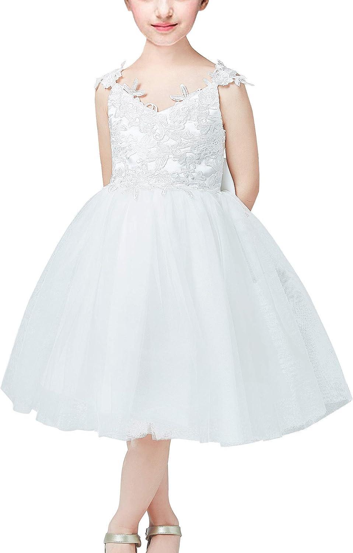 ABAO SISTER 3D Lace Applique Tulle Shoulder Strap Flower Girl Junior Bridesmaid Dress