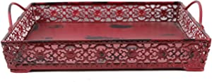 ACCENTHOME Antique Finished Metal Wood Artisanal Square Tray Decorative Serving Tray with 2 Handles Wedding Gift Decor (Red)