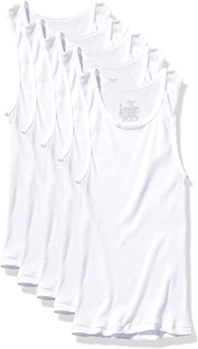 Brix Toddler Boys Girls Tank Top Undershirts White Tagless Super Soft 4 Pack.