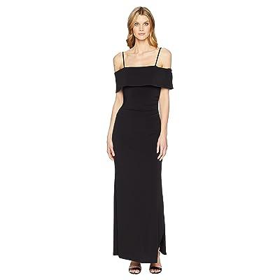 Laundry by Shelli Segal Jersey Portrait Collar Gown (Black) Women