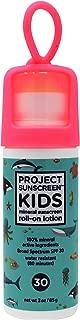 PROJECT SUNSCREEN Kids SPF 30 Zinc Oxide Mineral ROLL-ON Stick, Face and Body Sensitive Skin, Lotion 3oz Aqua.