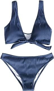 Women's Deep Love Solid Blue Bikini Set Tie Front Beach Swimwear