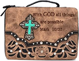 Bible Cover Western Bible Book Case Messenger Bag Scripture Verse Embroidery Rhinestone Cross Mark 10:27 Beige