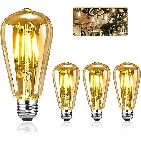 Edison LED ampoules, EYLM Vintage ampoule E27 LED ST64 4W 220V, ampoule decorative Edison Ampoule Antique lampe, Blanc Chaud design industriel pour Restaurant Café Bar,3 Pièces