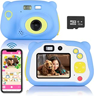 Kids Digital Camera, ASSENIO Wireless Mini Digital Video 12MP HD Recorder Dual Cameras 2.0 Inch LCD Display Camcorder with Soft Silicone Shell for Outdoor Play,Toys Gifts (32GB TF Card Included)